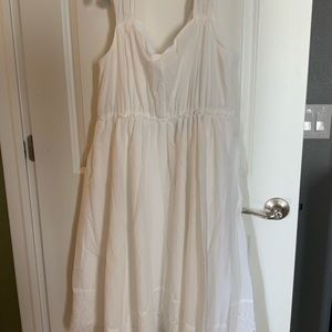 White dress with eyelet trim